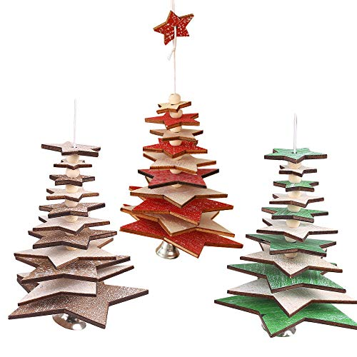 SoundZero 3 PCS Decorazione per Albero di Natale Appese Ornamento, Addobbi Natalizi da Appendere per Albero di Natale Decorazioni Stella per Show Mall Negozio Soggiorno Decorazioni la casa in Vetro