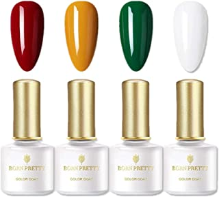 BORN PRETTY Gel Nagellack Set-4 reinen Farben Gel Lack UV-LED-gehärtetem Gel-Lack für Halloween- und Weihnachtsnägel Manik...