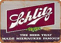 ミルウォーキーを有名なブリキの看板にしたビールヴィンテージノベルティ面白い鉄の絵の金属板