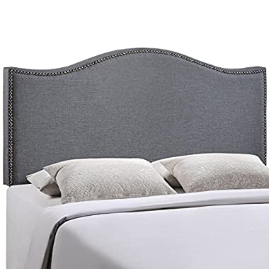 Modway Curl Upholstered Linen Headboard Queen Size With Nailhead Trim and Curved Shape In Smoke