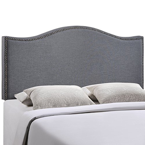 Modway Curl Upholstered Linen Fabric Queen Headboard Size With Nailhead Trim and Curved Shape in Smoke Fabric