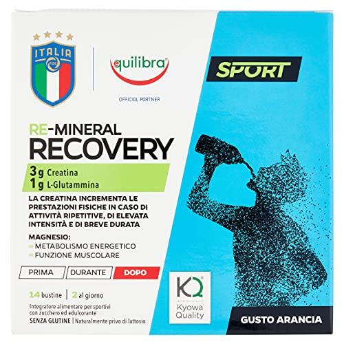 Equilibra Integratori Alimentari, Re-Mineral Recovery, Gusto Arancia, Creatina, L-Glutammina, Magnesio, Senza Glutine, Linea Sport, Figc, 14 Bustine