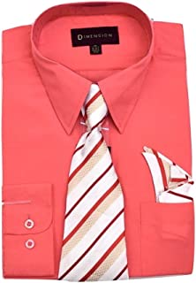 Men's Solid Color Dress Shirt Button Down W/Tie &Handkerchief for Work Casual Formal Dress Shirt