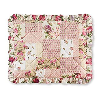 Collections Etc Light Pink Rose Garden Quilt-Style Ruffled Pillow Sham - Seasonal Décor for Bedroom Taupe Sham