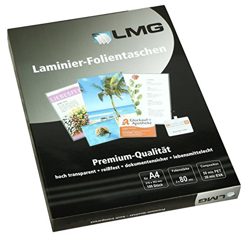 LMG LMGA4-80 Laminierfolien A4, 216 x 303 mm, 2 x 80 mic, 100 Stück