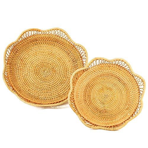 Fruit And Vegetable Storage Round Wicker Baskets Rattan Set 2 For Serving Potatoes Onions Bread Decor Basket Stackable Fruit Holder For Kitchen Countertop Organizing Bathroom Toys Craft (Honey Brown)