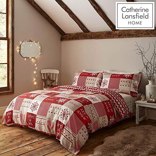 Catherine Lansfield Let It Snow - Set copripiumino matrimoniale, colore: Rosso