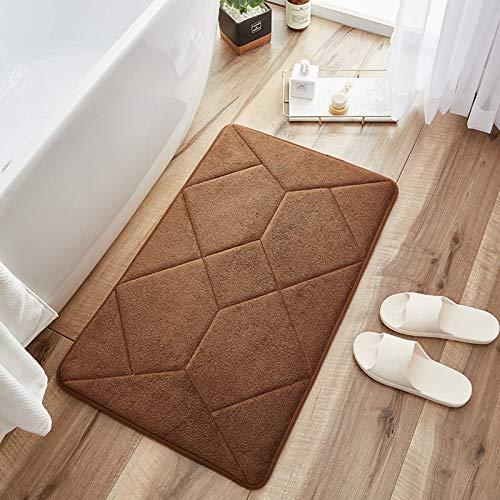 Teppich Home Schlafzimmer Wohnzimmer Saugfähiger Teppichboden Rutschfester Teppich,Dichte Deckenoberfläche, Spleißmuster Dick Weich Saugfähig Kühl Stabil Rutschfest,Leicht Zu Reinigen,Braun,50×80cm