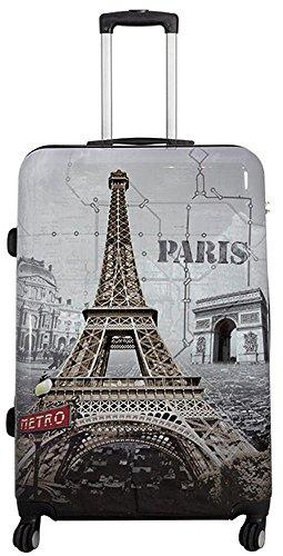 Neceser rígido de viaje, carcasa de policarbonato ABS, equipaje de mano, estuche de belleza Multicolor torre eiffel extra-large
