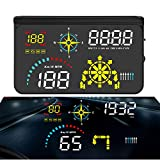 Ecoolbuy Upgrade Q10 Car Universal Navigation Version HUD 5.5'HD Screen Head Up Display OBD II/GPS Dual System Support Google Map, OverSpeed Warning Timer Compass Engine RPM,Mileage, etc