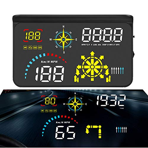 "Ecoolbuy Upgrade Q10 Car Universal Navigation Version HUD 5.5""HD Screen Head Up Display OBD II/GPS Dual System Support Google Map, OverSpeed Warning Timer Compass Engine RPM,Mileage, etc"