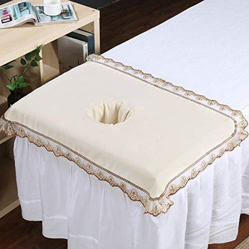 50 * 80 mesa de masaje cabeza, pelaje y cuidado de las pezuñas cepillos hoja de cubierta con agujero belleza spa cabeza de cama toalla masaje colchón cara acostada [beige blanco]