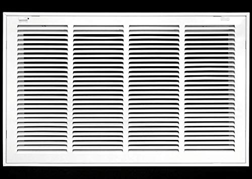 24' X 14 Steel Return Air Filter Grille for 1' Filter - Removable Face/Door - HVAC Duct Cover - Flat Stamped Face - White [Outer Dimensions: 26.5 X 15.75]