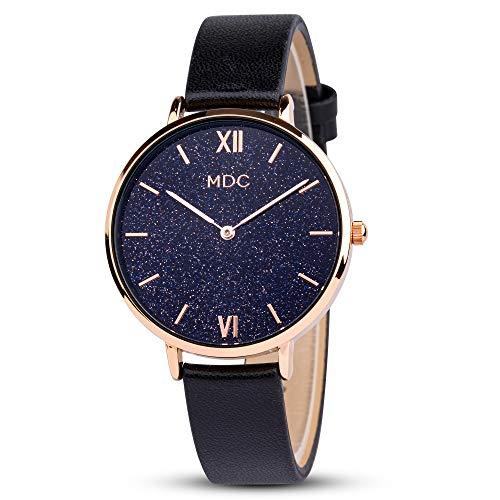 Damenuhr Schwarz Sternenhimmel Armbanduhr Damen Lederarmband Uhr Rosegold Frauen Uhren Damenarmbanduhr Women Watch by MDC