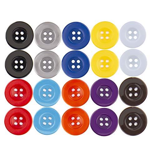 AIEX 100 Pièces Boutons En Résine à Coudre Boutons Multicolores Avec Quatre Trous Boutons d'Artisanat De Forme Ronde Pour La Couture Les Arts Et l'Artisanat De Bricolage