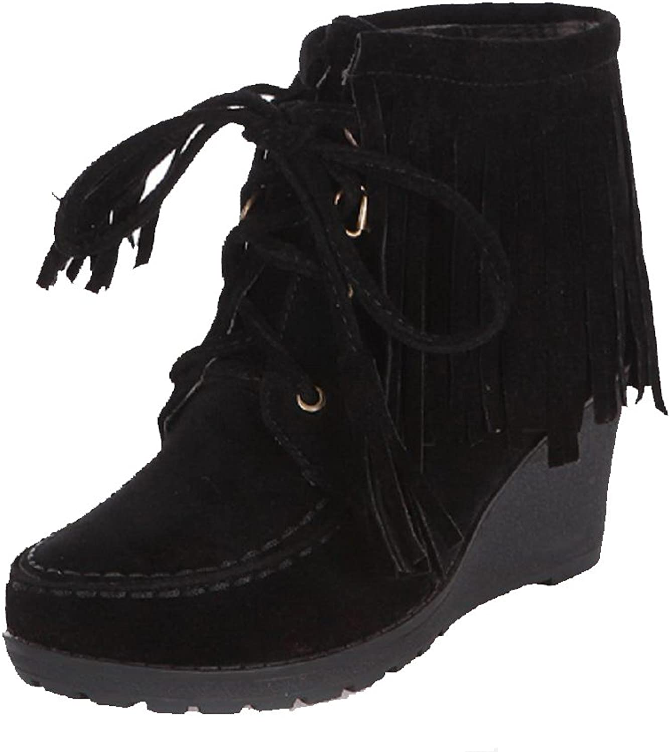 AmoonyFashion Women's Solid Imitated Suede High-Heels Lace-up Round Closed Toe Boots