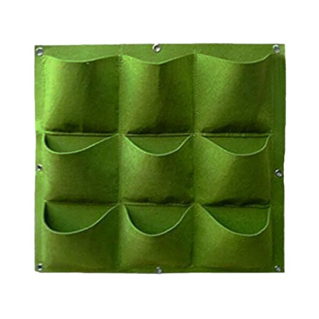 FiedFikt - Bolsa para Plantar Flores para Plantar en Maceta de jardín Vertical para Colgar en la Pared, Maceta de jardín, Maceta para Patio, balcón, decoración del hogar, Verde, 9 Pocket: Amazon.es: