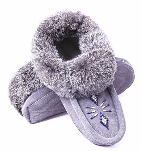 Womens Moccasin Slippers Soft Sole,Leather Moccasins House Slippers with Rabbit Fur Collar Fleece Lined Slip On House Shoes Grey