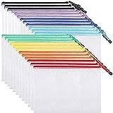 EOOUT 24pcs Mesh Zipper Pouch Document Bag, Plastic Zip File Folders, Mesh Zipper Bags, Letter Size,...