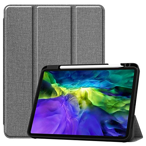 JDDRCASE Tablet case, For iPad Pro 11 (2020) Case with Pencil Holder Cloth Texture Leather Soft Silicone Auto Sleep/Wake Cover for iPad Pro (11-inch, 2nd generation) (Color : Gray)