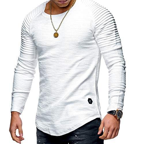 acelyn Herren Langarm T-Shirts Falten Casual Baumwolle Slim Fit Gr. XL, weiß