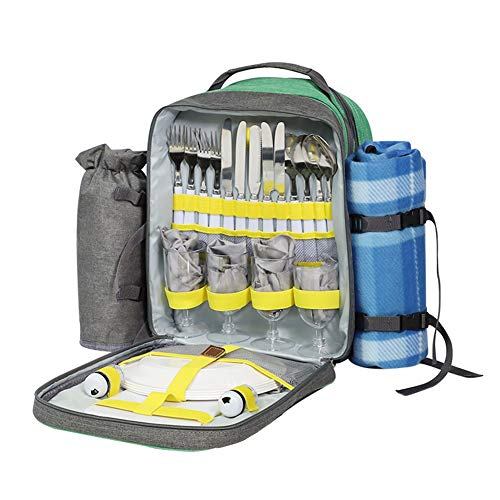 LSGMC Picnic Backpack Sets for 4 Persons,Picnic Cooler Bag with Roomy Insulated Compartment, Bottle Holders and Waterproof Picnic Rug.