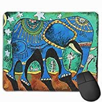 マウス パット かわいいゲーミングマウスパッド、デスクマウスパッド、ラップトップコンピューター用の小型マウスパッド、象の下を歩くのが好きな象のマウスマットブルー