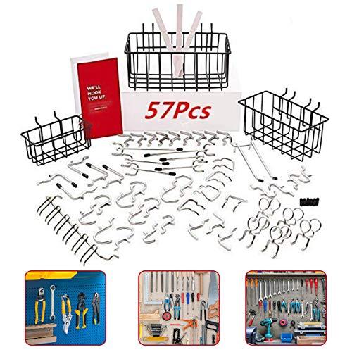 4YANG 57-teiliges Pegboard-Zubehör-Organizer-Kit, 1/4-Zoll-Peg-Board-Zubehör, Peg-Board-Hakenset und Pegboard-Korb-Set, das schwere Gegenstände tragen kann