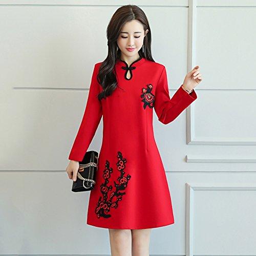 YAN Vestido de Mujer Vestidos de Las Mujeres Cheongsam Long Sleeve Short Dress Temperament Señoras Hermosas Wear Vintage Chinese Style Cocktail Party Wearing (tamaño : M)