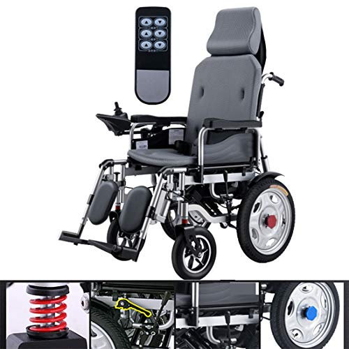 HQPCAHL Wheelchairs Electric Foldable Electric Wheelchair Light Elderly Disabled Four Rounds Automatic Intelligence Silent Dual Motor Wheelchair,Black