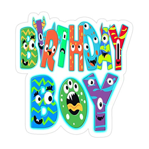 DKISEE 3 PCs Birthday Boy Monsters - 4 inches Die-Cut Stickers Decals for Laptop Window Car Bumper Water Bottle