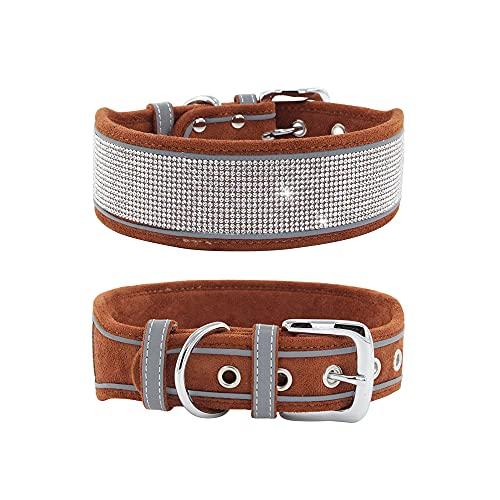 Elegel Collar reflectante para perro mediano grande brillante de ante con brillantes de imitación y corbata para mascotas y colgante con número de teléfono móvil (marrón L)
