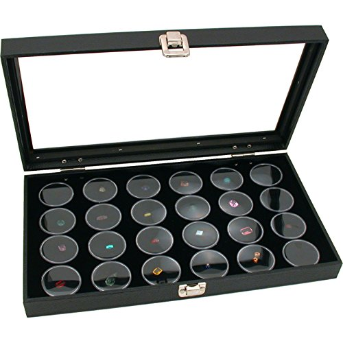 FindingKing Glass Top Jewelry Display Case Box Black 24 Gem Jars