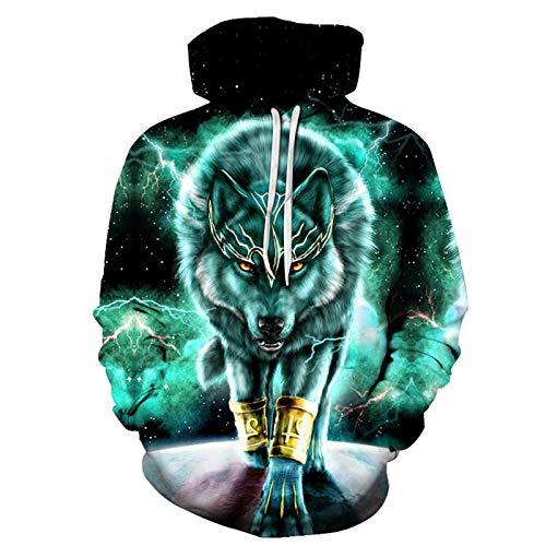 SLYZ Hombres Otoño/Invierno Nuevo Gran Tamaño Lobo Verde Impresión Digital 3D Suéter con Capucha Parejas Abrigo Suéter con Capucha para Hombres