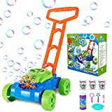 Vimzone Bubble Lawn Mower, Automatic Bubble Maker Blower Machine with Bubble Solution, Fun Bubbles Blowing Push Toys for Kids, Boys, Girls, Toddlers