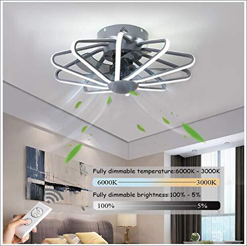 LED Ventilador De Techo Infantil,Velocidad Del Viento Ajustable Remoto Control Regulable Ventiladores De Techos Con Iluminación 200W Silenciosa Invisible Ventilador De Techo 5 Aspas,58cm (gray)