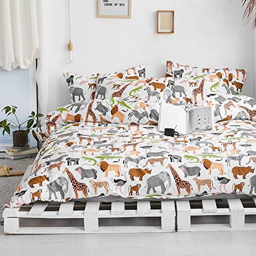 BlueBlue Safari Kids Duvet Cover Set Twin, 100% Cotton Bedding for Boys Girls Teens Single Bed,...