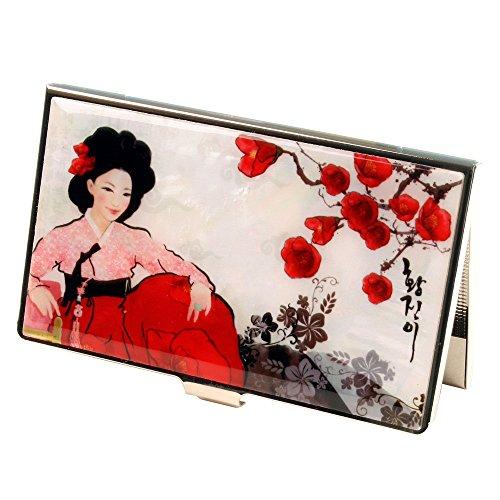 Madreperla coreano Hanbok mujer rojo flor de la Magnolia RFID creacion negocio de nombre con Metal portatarjetas grabado Slim bolso bolsillo acero inoxidable efectivo billetera