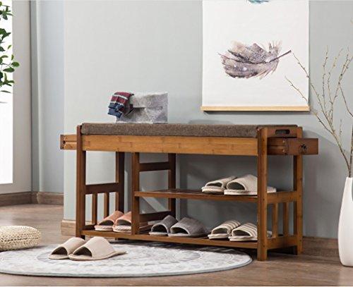 Étagère à chaussures, tabouret de chaussure en bambou naturel, simple chaussure moderne, double tiroirs pour porter des chaussures selles