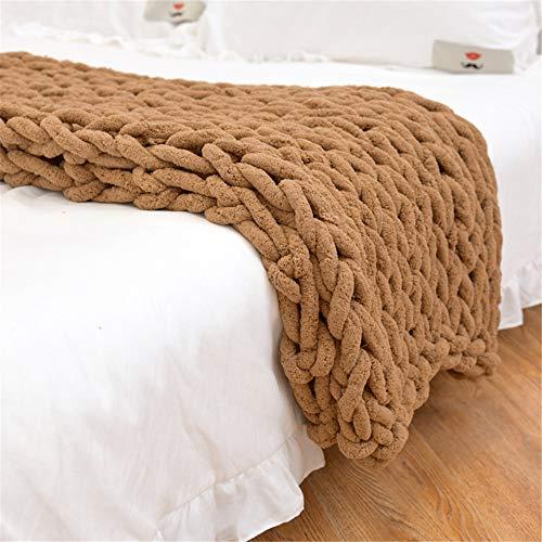 GLITZFAS Gestrickte Decke Grob Kuscheldecke Grobstrick Wolldecke Strickdecke Tagesdecke Überwurf Decke Zuhause Dekor Geschenk fürs Sofa Tagesdecke (Kamel,120 * 150cm)