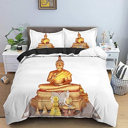 Juego de Funda nórdica Impresa en 3D Estatua de Buda de Oro Gris Blanco con Cierre de Cremallera Juego de 3 Piezas de Ropa de Cama con 2 Fundas de Almohada260x220cm