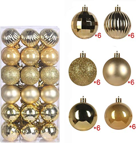 [36 Pack] - Christmas Ball Ornaments, Christmas Decorations Coming with Tree Ornaments Hooks, Shatterproof Xmas Party Decor (Gold, 1.57')
