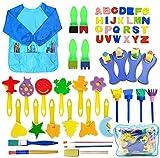 SPECOOL 56 Pcs Kits de Pinceles de Esponja, niños Gouache Craft Pinceles y Delantal Herramientas de Pintura, Acuarelas niños, Niños Pintura Temprana Artes DIY Artesanías