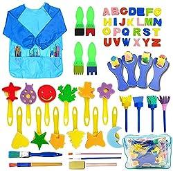 🎁【56PCS pennelli spugna pittura bambini】: Ci sono 13 x pennelli per dipingere, 42 x pennelli in spugna, 1 x grembiule da disegno all'interno della confezione. Specool Drawing Tools Kit è progettato per aiutare i bambini a svilupparsi precocemente nel...