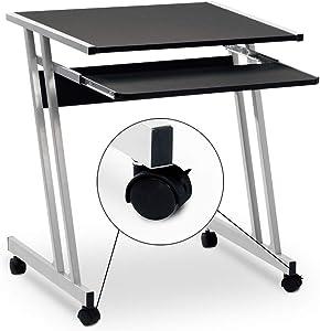 Bureau informatique meuble PC ordinateur Table Tiroir Rangement Noir Roulettes Chambre