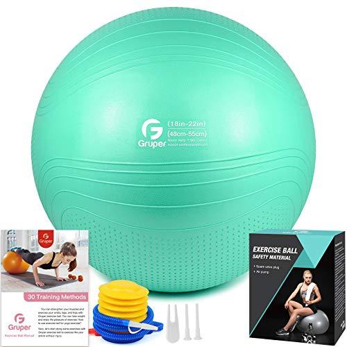 Gruper Yoga Stabilitätsball–Extra Dicker Gymnastikball für Fitness Balance Workout–Anti-Burst Stuhl für Zuhause und Büro Schreibtisch–inkl. Handpumpe und Workout Guide Zugang (Cyan, 55cm (22 inch),M)