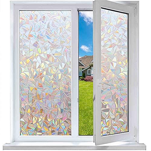 Funfox 3D Regenbogen Fensterfolie Blickdicht Sichtschutzfolie Regenbogeneffekt Fensterfolie Anti-UV Statisch Fenster Folie ohne Klebstoff Dekorfolie 44.5 x 200cm