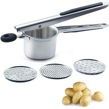 CAMKYDE Potato Ricer Potato Masher, Stainless Steel Potato Ricer with 3 Interchangeable Discs