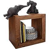 FineBuy Standregal Massivholz Sheesham 44 cm hoch Cube Regal Design Holzregal Natur-Produkt Beistelltisch Landhaus-Stil dunkel-braun Wohnzimmer-Möbel Unikat Echtholz Couchtisch viereckig...