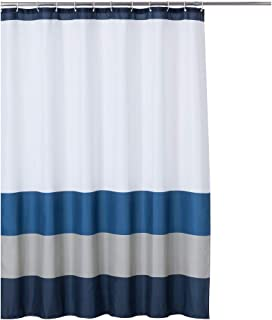 Rama Rose Shower Curtain Stripe with Hooks for Bathroom – 70 x 72 inches, Navy/Blue/Grey/White Color